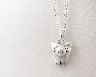 Very tiny pig necklace, sterling silver pig jewelry, gift for daughter, wife, girlfriend, coworker gift