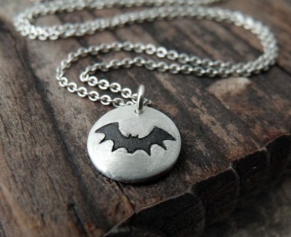 Tiny bat necklace in silver, halloween necklace, vampire goth jewelry