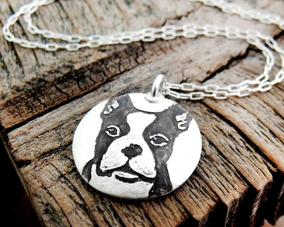 Boston Terrier necklace - silver dog necklace