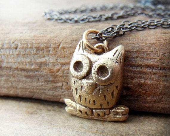 Bronze owl necklace  - handmade