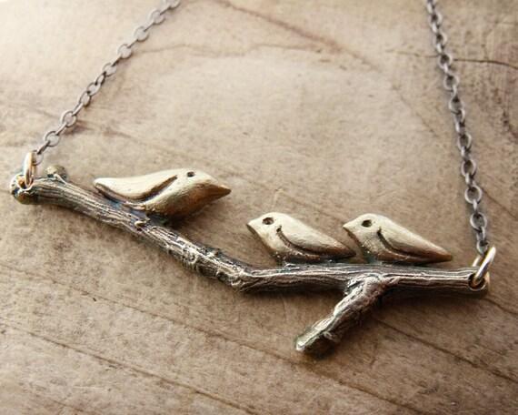 Three little birds necklace in bronze