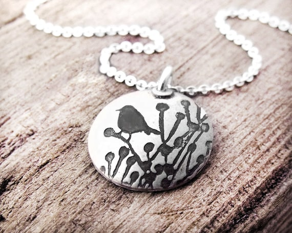 Little bird necklace, silver bird jewelry, bird pendant, gift for her, gift for wife, girlfriend gift