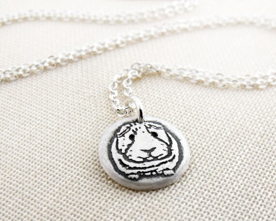 Tiny Guinea Pig necklace, silver guinea pig jewelry, memorial necklace, remembrance jewelry, pet lovers