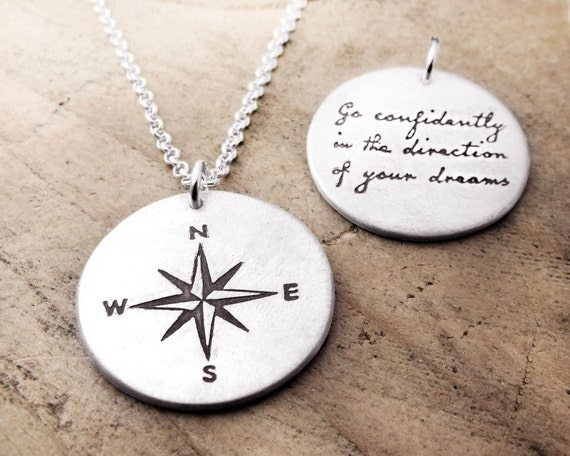 Graduation, Thoreau inspirational quote necklace, Compass necklace, Go confidently in the direction of your dreams, boyfriend gift for him