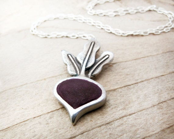 Beet necklace in sterling silver and concrete, vegetable jewelry, beet pendant, concrete jewelry, veggie