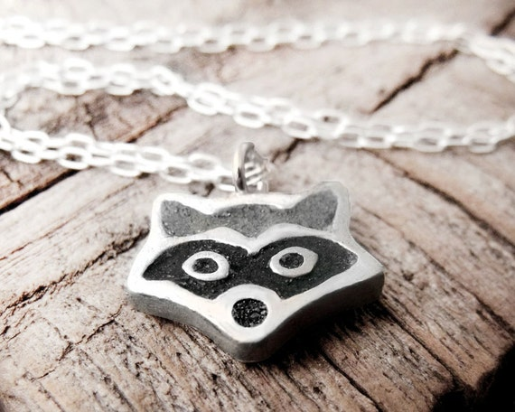 Raccoon necklace - silver and concrete raccoon pendant - animal jewelry