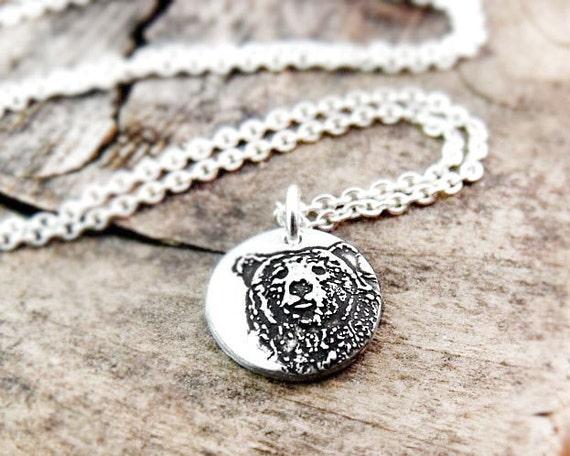 Tiny bear necklace, silver bear pendant