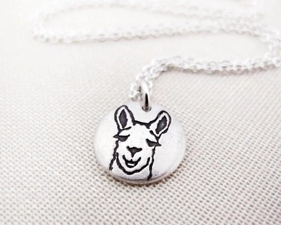 Tiny Llama necklace, silver eco friendly llama jewelry, reclaimed recycled animal jewelry