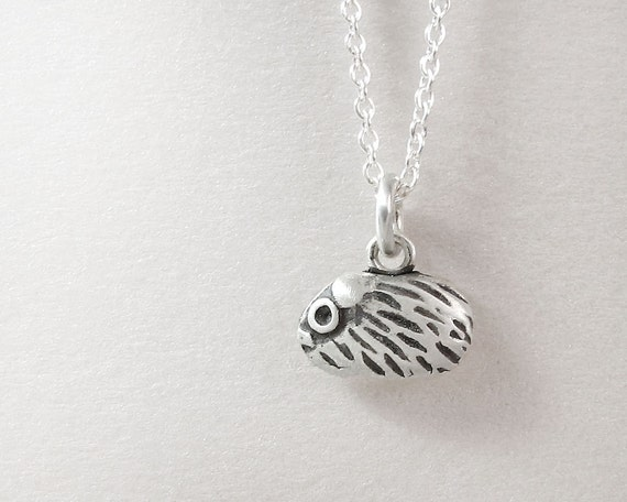 Very tiny Guinea Pig necklace - silver