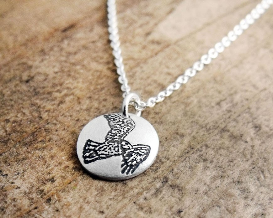 tiny hawk necklace silver hawk jewelry bird
