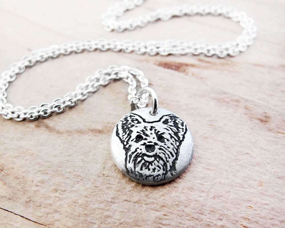 tiny yorkie necklace terrier necklace silver
