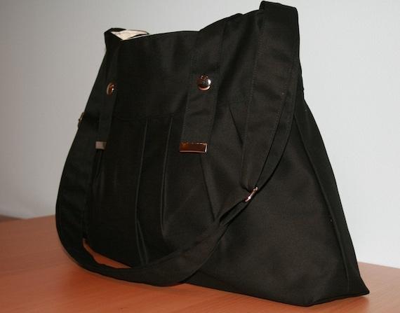 Black Messenger Bag with fastener snap and adjustable strap