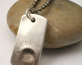 Silver Fingerprint / Thumbprint Dog Tag Necklace Customized