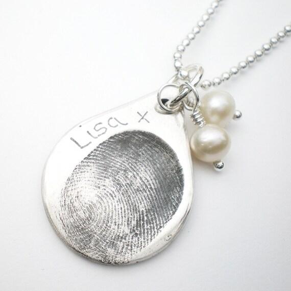 silver fingerprint jewelry silver teardrop by alibalijewellery