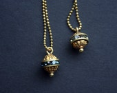 Gold orb necklace with band of crystals - Vintage brass Swarovski ball pendant with crystals -  Art Deco necklace