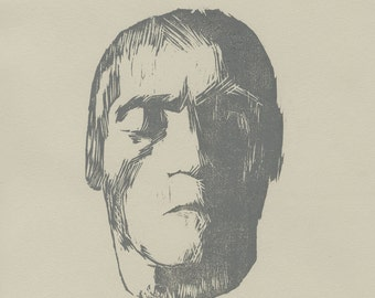 Beethoven Block Print // Original Woodblock Print of Ludwig van Beethoven's Death Mask