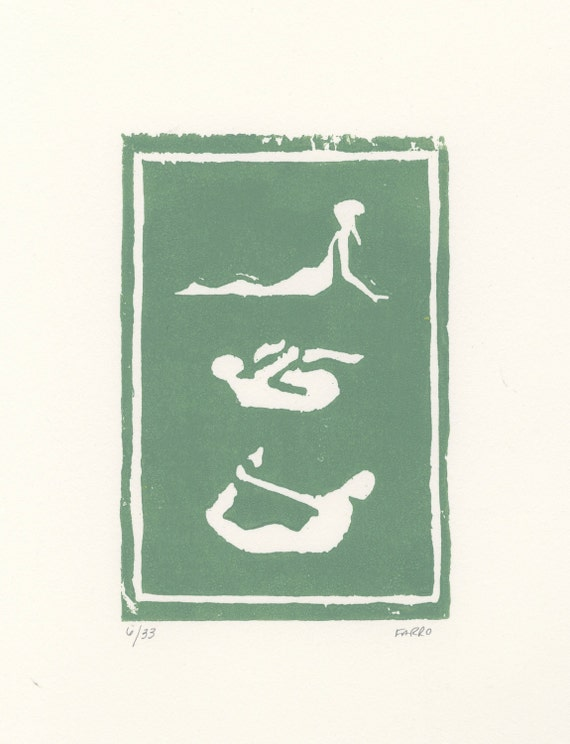 yoga poses woodblock print / yoga decor / yoga gifts / yoga poster / yoga art / available in other colors