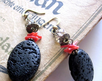 Lava and Coral Earrings
