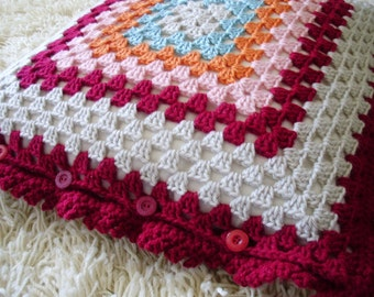 Crocheted Granny Square Pillow Cover