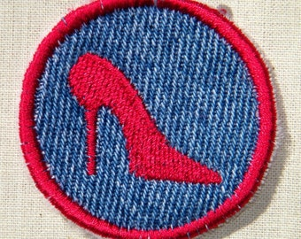 Red High Heel Iron-on Patch / Merit Badge