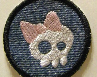 Skeleton with Pink Bow Patch / Merit Badge