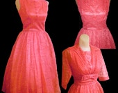Sweetheart Stunner- DEADSTOCK 50's Bombshell Pink Lace Dress & Bolero Set-Sz.S