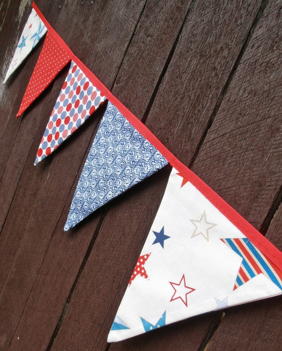Bunting / Flags / Pennant Strings - 4th Of July Stars and Stripes (Riley Blake)