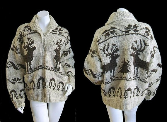 Authentic SIGNED Vintage 70's COWICHAN INDIAN Cardigan Elk Sweater