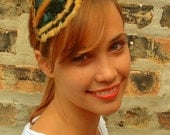 Gold and Emerald Green Feather Headband