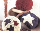 Primitive Patriotic Rug Hooked Balls Bowl Fillers Paper Pattern OFG PFATT