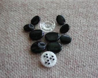 Vintage Black Glass Buttons OFG PFATT