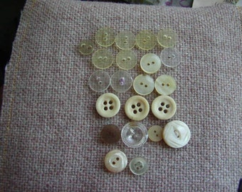 Civil War vintage Bone and Clear Buttons OFG PFATT