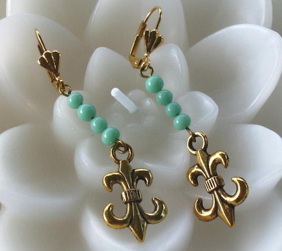Fleur De Lis Turquoise Earrings