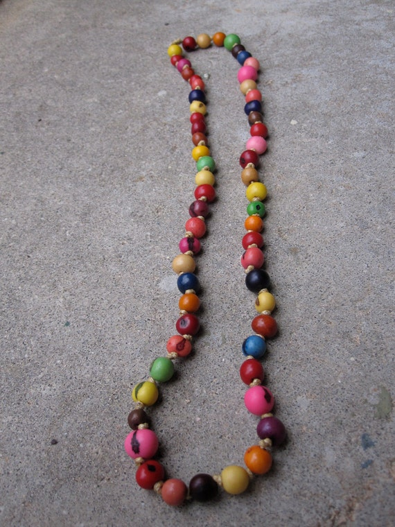 24 inch Carnival Acai Seed Bead Knotted necklace