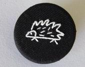 Porcupine Brooch. Echidna hedgehog badge pin. white stitching on black hemp fabric. woodland critter.