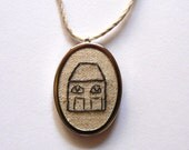urban cottage pendant hand embroidered house on linen