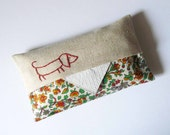 Linen with vintage floral fabric. tissue holder. Hand embroidered. sausage dog dashchund puppy.