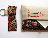 Tissue Holder and Stashie Key Ring pack, vintage floral fabric with embroidered sausage dog
