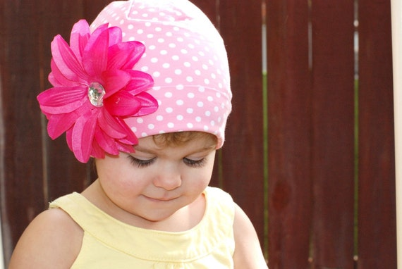 Soft and Stretchy Light Pink Polka Dot Cotton Toddler Hat with Pink Flower Clip