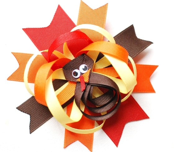 Deluxe Layered Happy Thanksgiving Tom Turkey Ribbon Clip