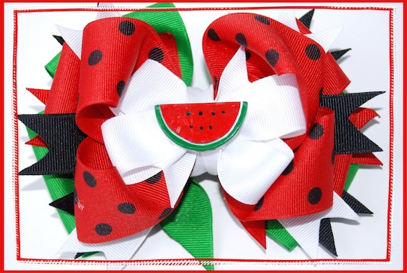 Perfect Summer Watermelon Large Layered Boutique Bow