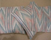3 Retro Vintage Decorator Salmon Green Flamestitch Pillow Covers Lot REDUCED