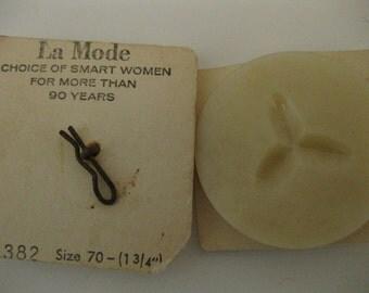 Vintage La Mode 2 EXTRA Large Huge Beige Incised Plastic Buttons
