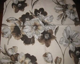 Huge Silvia Flower Water Color Pindler Designer Fabric Sample Brown
