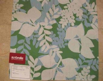 Green Blue Floral Leaf Outdoor Sunbrella Designer Fabric Sample Duralee