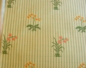 Pastel Embroidered Flowers Stripe Lampas Designer Fabric Sample