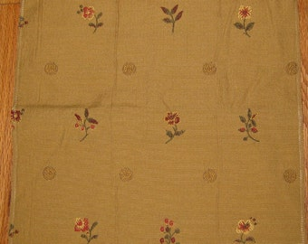 Floral Gold or Cream Embroidered Giardino Pindler Designer Fabric Sample