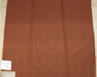 Thin Wool Window Pane Plaid Clay Rust Designer Fabric Sample