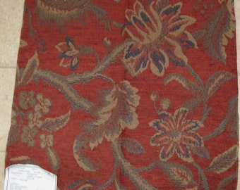 Floral Tapestry Brick Chenille Rosewood Designer Fabric Sample