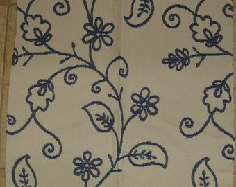 Stroheim Desmond Blue White Floral Scroll DESIGNER FABRIC SAMPLE